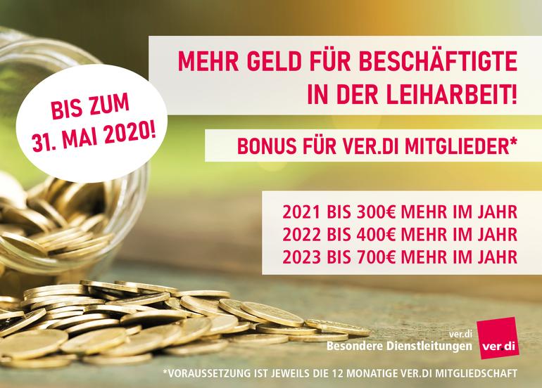 Leiharbeit: Mehr Geld für Leiharbeiter - Bonus für ver.di Mitglieder!