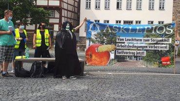 Auftritt der Asklepios-Beschäftigten auf Protestdemo in Gießen